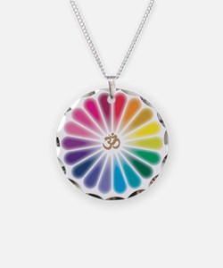 Om Rainbow Flower Necklace