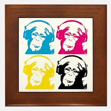 4 DJ monkeys Framed Tile