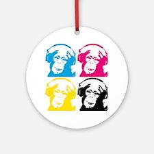 4 DJ monkeys Round Ornament