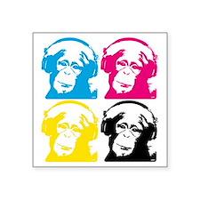 "4 DJ monkeys Square Sticker 3"" x 3"""