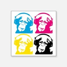 "4 DJ monkeys Square Sticker 3"" x 3"""