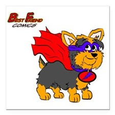 "Yorkie Super Hero Square Car Magnet 3"" x 3"""