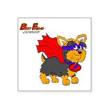 "Yorkie Super Hero Square Sticker 3"" x 3"""
