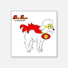 """White Poodle Super Hero Square Sticker 3"""" x 3"""""""