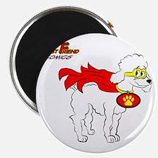 White Poodle Super Hero Magnet