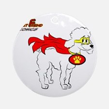 White Poodle Super Hero Round Ornament