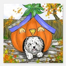 "Pumpkin House Square Car Magnet 3"" x 3"""
