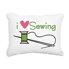 I Love Sewing Rectangular Canvas Pillow