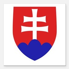 "Slovakia Coat of Arms Square Car Magnet 3"" x 3"""