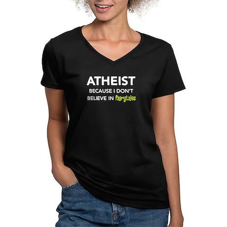 Atheist vs. Fairytales Women's V-Neck Dark T-Shirt