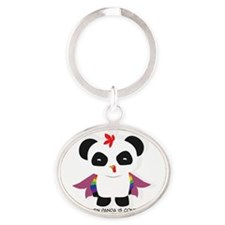 Chicken Panda Oval Keychain