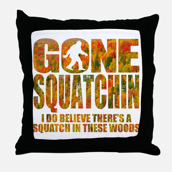 Gone Squatchin *Fall Foliage Forest E Throw Pillow