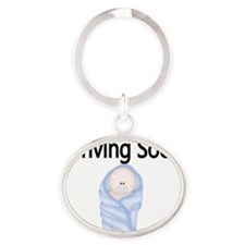arriving soon baby boy Oval Keychain