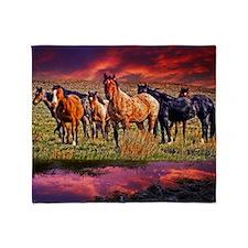 Sunset Horses Throw Blanket