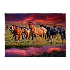 Sunset Horses 5'x7'Area Rug
