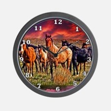 Sunset Horses Wall Clock