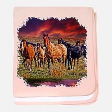 Sunset Horses baby blanket
