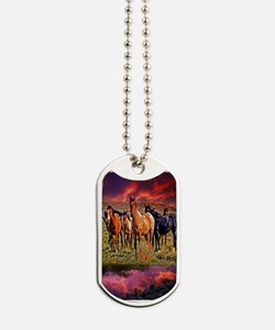 Sunset Horses Dog Tags