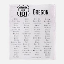 US Route 101 - Oregon cities Throw Blanket