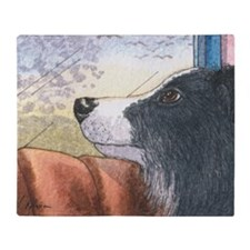 Border Collie dog waiting in car Throw Blanket