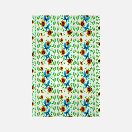 Flowers and Butterflies rug Rectangle Magnet