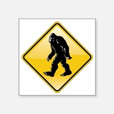 "Bigfoot Road Sign Square Sticker 3"" x 3"""