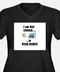 I AM A MAN I CAN WASH DISHES Women's Plus Size V-N
