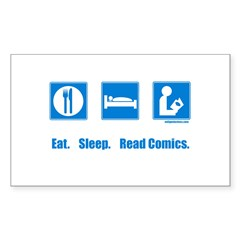 Eat. Sleep. Read comics Rectangle Sticker