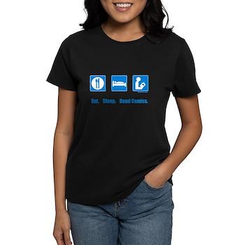 Eat. Sleep. Read comics Women's Dark T-Shirt | Gifts For A Geek | Geek T-Shirts