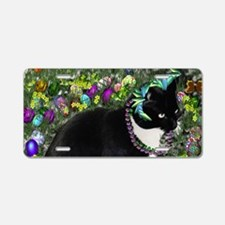 Freckles the Tux Cat in Eas Aluminum License Plate