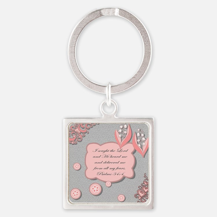 psalm 34 pillow Square Keychain
