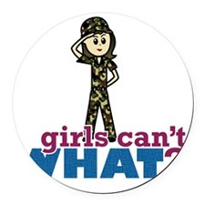 Army Girl Round Car Magnet