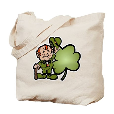Leprechaun and Shamrock Tote Bag