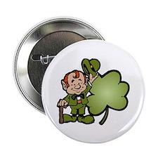 "Leprechaun and Shamrock 2.25"" Button (100 pack)"