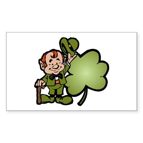 Leprechaun and Shamrock Rectangle Sticker