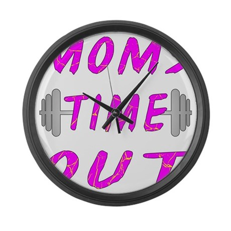 blk_Barbell_Moms_Time_Out Large Wall Clock