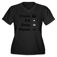 Cruise. Eat. Women's Plus Size Dark V-Neck T-Shirt