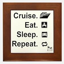 Cruise. Eat. Sleep. Framed Tile