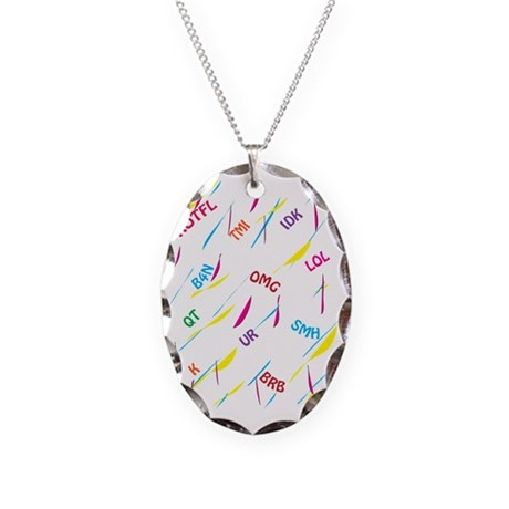 TEXT CRAZY Necklace Oval Charm