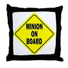 Minion on Board Car Sign Throw Pillow