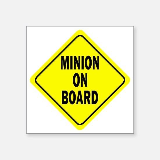 """Minion on Board Car Sign Square Sticker 3"""" x 3"""""""