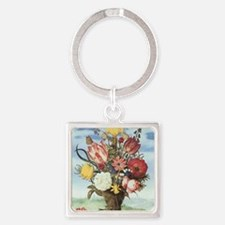 Bouquet of Flowers Square Keychain