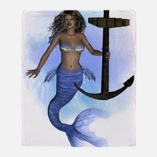 African Mermaid With Anchor- Splash  Throw Blanket