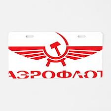 Aeroflot Red Aluminum License Plate