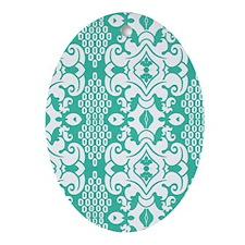 Green Vintage Flocked Oval Ornament