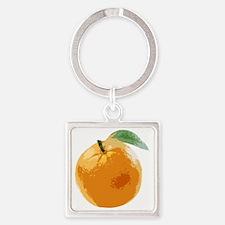 Orange Fruit Navel Valencia Naranj Square Keychain