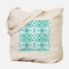 Green Vintage Flocked Tote Bag