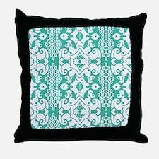 Green Vintage Flocked Throw Pillow
