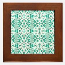 Green Vintage Flocked Framed Tile