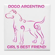 Girl's best friend-dogo argentino Tile Coaster